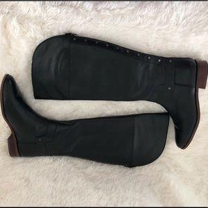 "FRANCO SARTO "" Roxie"" Leather Black riding boots 9"